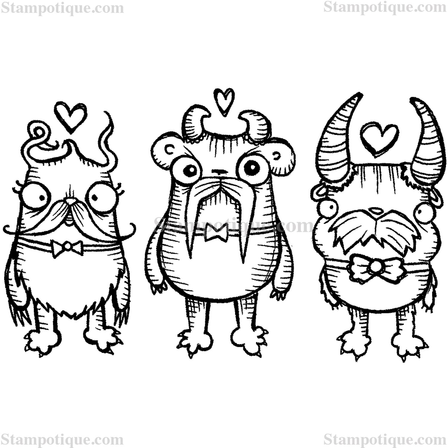Smitten Moustache Monsters